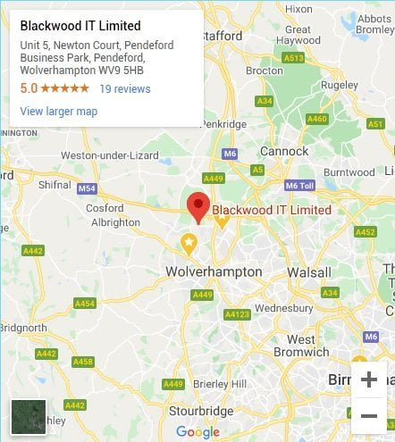 Blackwood IT Support Wolverhampton Map